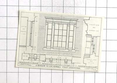 1934 Small Drawing Of A Window To 104 Newhall Street Birmingham