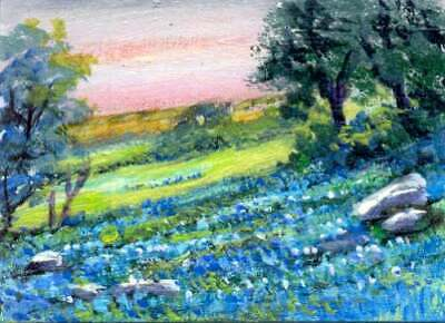 ACEO Original Watercolor Painting-Texas Bluebonnets in Foggy Day and Red BarnATC Landscape Flower Field