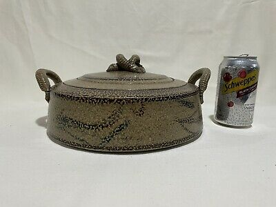 Stunning Vintage Studio Pottery Signed Covered DishPot Casserole Dish