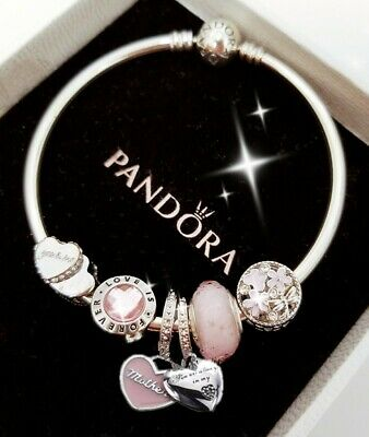 Authentic Pandora Bracelet Silver Bangle With Love Wife Mom European Charms 75 00 Picclick