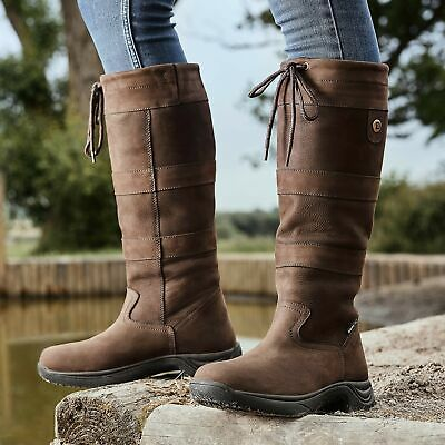NEW PoleStar London Leather//Suede Riding Boots Country Boots Brown//Beige W//XWide