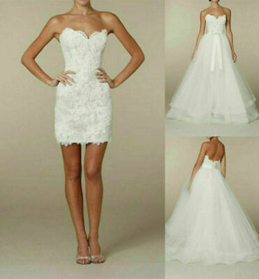 Details about  /Short White//Ivory Lace Wedding Dress Bridal Gown Custom Size 2-4-6-8-10-12 14+