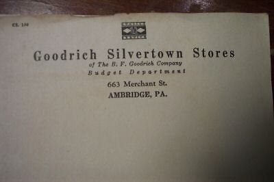 OLD B.F.GOODRICH TIRE SILVERTOWN STATIONARY LETTER HEAD