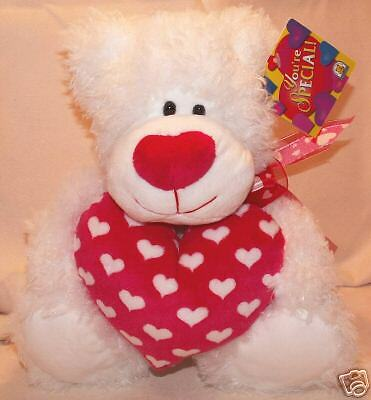 KELLYTOY Pet  - Valentine White Bear Plush with Heart!