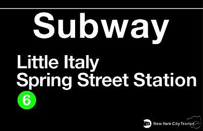 Little Italy New York Subway Station Sign Metal