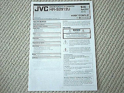 JVC HR-S2912U S-VHS VCR owner's manual FRENCH