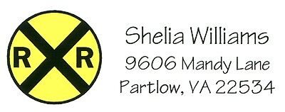 Yellow Railroad Crossing Sign Conductor Address Labels
