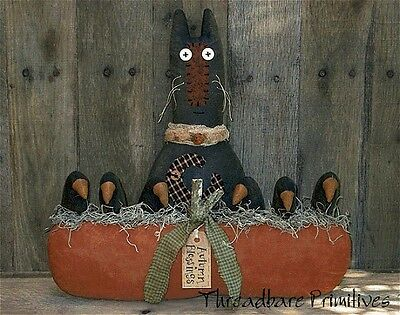 PATTERN Primitive Halloween Fall Black Cat Doll & Pumpkin w/ Crows Ornies Doll