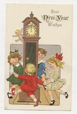 Kids Dancing Around A Grandfather Clock Old Unused Postcard Pc5693