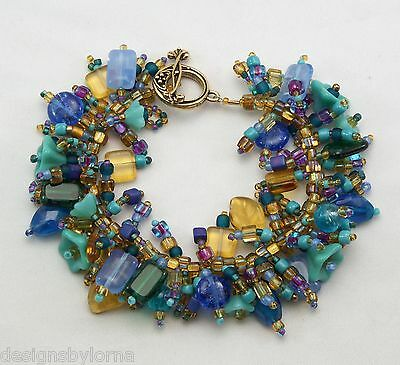 """Bracelet: """"Peacock"""" Glass beads in rich colors! Fringe Magic"""
