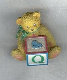Cherished Teddies 158488Q Bear with ABC Block Q Mini
