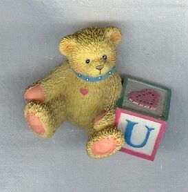 Cherished Teddies 158488U Bear with ABC Block U Mini