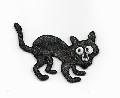 Halloween Sparkly Black Cat Embroidered Iron On Patch 156929