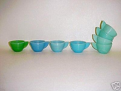 Akro Agate Small Concentric Ring Robin-Egg Blue-Green Child Tea Set Cups / VHTF