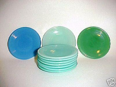 Akro Agate Robin-Egg Blue-Green Small Stacked Disc (& Concentric Ring ) Plates