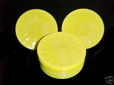 Akro Agate Large Interior Panel Opaque Yellow PLATES / Children's Dishes