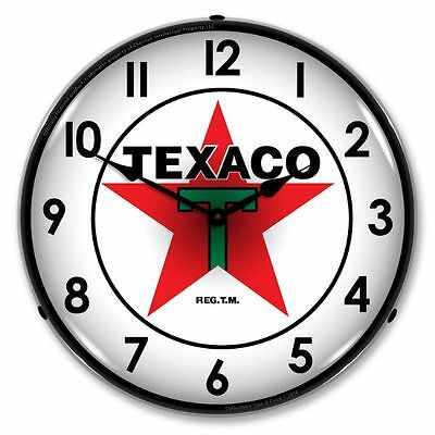 NEW TEXACO BACKLIT LIGHTED RETRO CLOCK - FREE SHIPPING* AND HANDLING