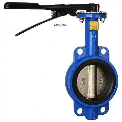 "Butterfly Valve 6"" Wafer Style 200 Wog Ductile Body Bronze Disc Buna Rubber"