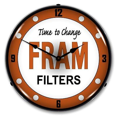New Fram Filters Oil  Advertising Backlit Lighted Retro Clock - Free Shipping*
