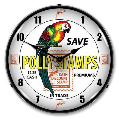 New Polly Stamps Gas Advertising Backlit Lighted Retro Clock - Free Shipping*