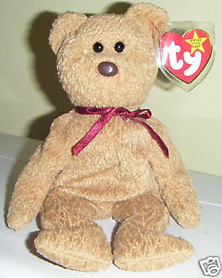 CURLY Bear Ty Beanie Baby Babies MWT