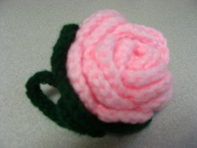 Luggage Bag Identifyer ID Tag Crochet Rose Pink Red