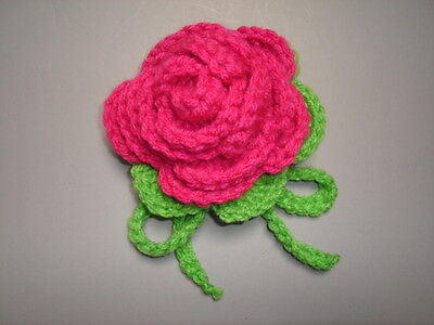 Luggage Bag Identifyer ID Tag Crochet Rose Red Apple Green
