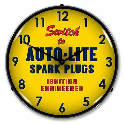 New Autolite Spark Plugs Advertising Backlit Lighted Retro Clock - Free Shipping
