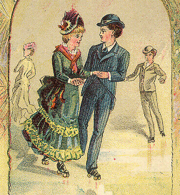 Meacham Arms Co * Henleys Roller Skates Trade Card * Outstanding & Old * Tc1924