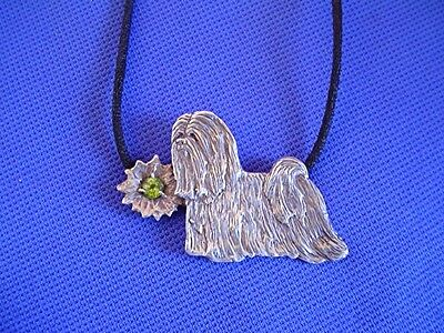 Original Silver Lhasa Apso necklace peridot 1/1 dog jewelry b Cindy A. Conter