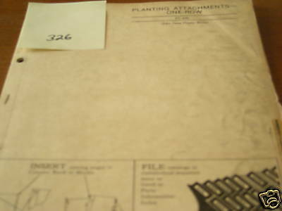 John Deere One Row Planting Attachm dealer's parts book