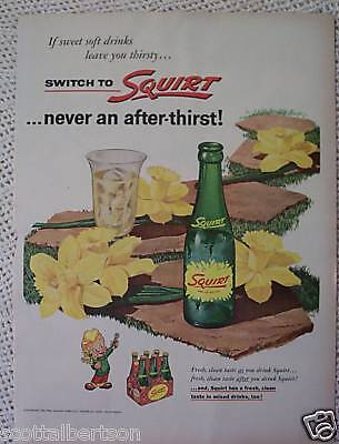 Squirt Soda Bottle  Vintage Ad  1955