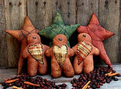 PATTERN Primitive Gingerbread Man Doll Ornies w/ Quilt Hearts & Star Ornies