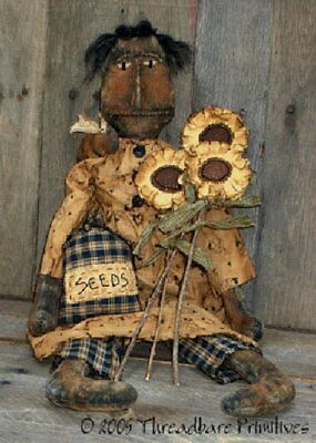 PATTERN Extreme Primitive Black Doll w/ Sunflowers & Bumble Bee Ornie Doll