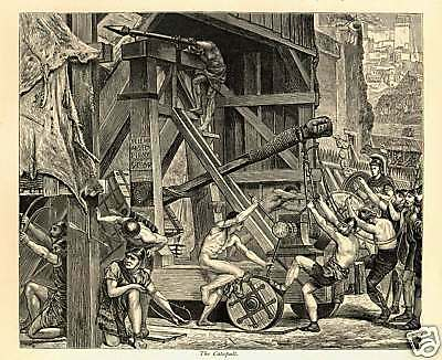 Catapult at BATTLE of Carthage - Stunning 1882 Loutherbourg Antique Engraving
