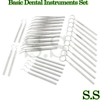 45 Instruments Basic Dental Set Mirror Explorer plier