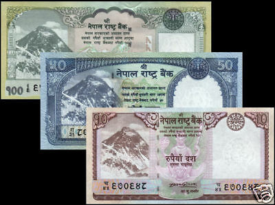 NEPAL First issued EVEREST BANKNOTE Rs 10, 50 & 100 short set of 3 sign 17 UNC
