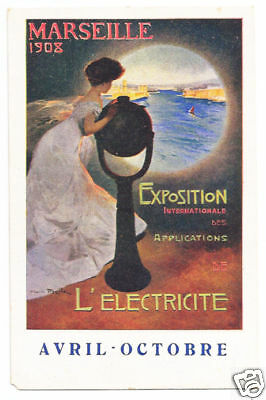 Postcard French 1908 Marseille Electricity Exposition