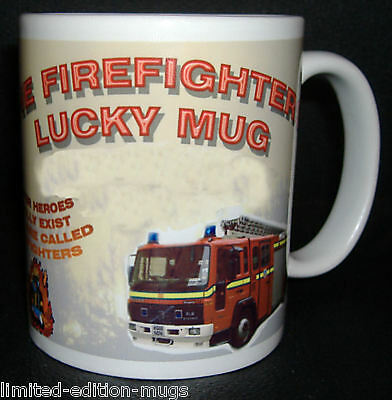 Fireman Firefighter Lucky Personalised Mug. Great Gift