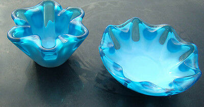 Turquoise Blue Slag Art Glass Bowl Pr Modernist