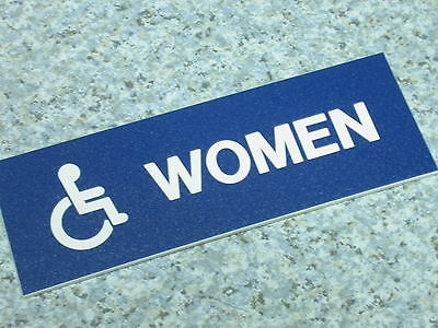 "Restroom Sign, Hager 352W Blue, ADA ""WOMAN"""