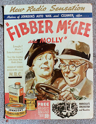 Fibber McGee & Molly Radio Show COUNTER DISPLAY ADVERTISING SIGN - mid-1930's