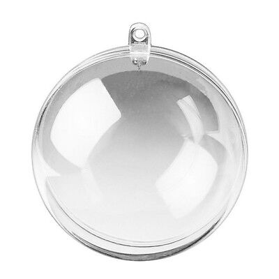 Five 50mm Clear PLASTIC CRAFT Balls 2-part Spheres Baubles Favours Wedding Xmas