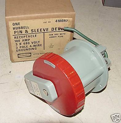 Hubbell Pin & Sleeve Receptacle Model 4100R7  100a NEW