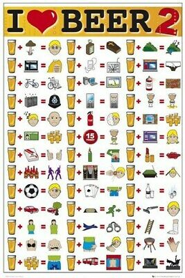 BEER MATH POSTER I Love Beer 2 RARE HILARIOUS NEW 24x36