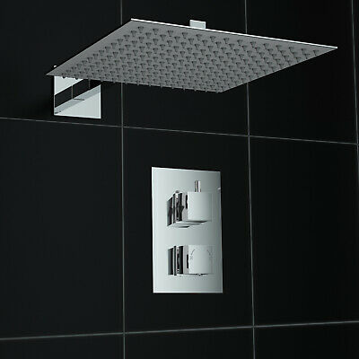 Concealed 1 Way Square Wall Mounted 300mm Thermostatic Mixer Shower Kit