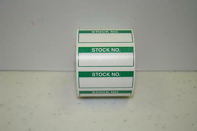 """350 Labels of 1-1/2"""" x 5/8"""" Green STOCK NO. Inspection Quality Control Rolls"""