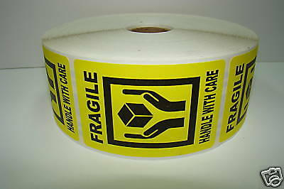 100 Labels 2x3 Yellow FRAGILE Hands Holding Box Shipping Mailing Stickers