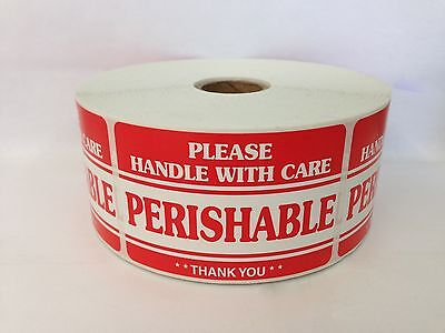 100 Labels 2x3 PERISHABLE Handle with Care Shipping Mailing Warning Stickers