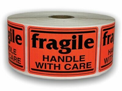 1000 Labels 2x3 Br/Red fragile Handle with Care Shipping Mailling Stickers